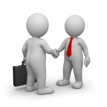 3D Character is Businessman , they give handshake to each other , they are partner and co-worker